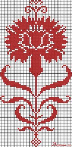Gallery.ru / Фото #70 - Цветы (схемы) 3 - Olgakam Funny Cross Stitch Patterns, Cross Stitch Charts, Knitting Charts, Knitting Patterns, Knitted Mittens Pattern, Art Nouveau Pattern, Blackwork Embroidery, Graph Design, Chiffon