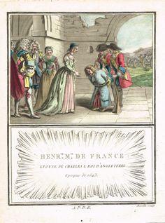 Henriette Marie de France, Fille d'Henri IV, Roi de France, Épouse de Charles 1, Roi d'Angleterre - Époque de 1643 - aquatinte par Mixelle - MAS Estampes Anciennes - Antique Prints since 1898