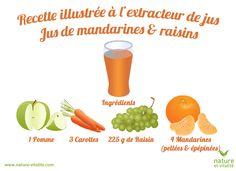 Recette pour un jus de mandarines et raisins maison à réaliser avec votre extracteur de jus horizontal ou vertical. Idéal pour faire le plein de vitamine