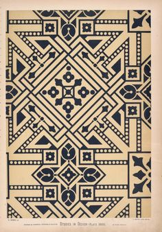 Ceiling pattern in blue and white, suitable for a small, dark sitting-room, Christopher Dresser, 1876