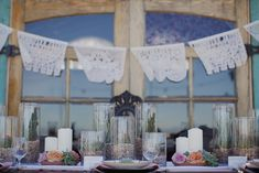 Spanish Bridal Fashion with Mexican Wedding Inspiration - Papel Picado and Succulents