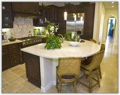 Kitchen island breakfast bar curved granite simple - Small kitchen islands with seating and storage ...
