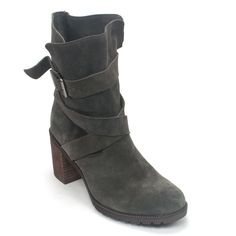 The Malvet Doris by Clarks is a hot new fall/winter boot featuring suede uppers and crossover straps. It is finished off with buckle detailing for style, a raw 3 inch stack heel, and zipper closure fo