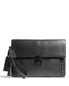 COACH Legacy Lock Clutch In Onyx Studded Leather | Bloomingdale's