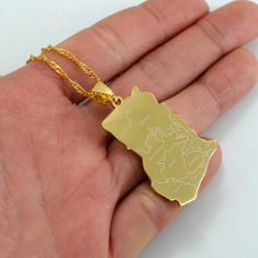 Ghana map Pendant Necklaces Gold Plated Charm Jewelry #007521