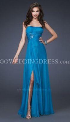 A-Line Strapless Sweep/Brush Train Chiffon Prom Dress Style 15978