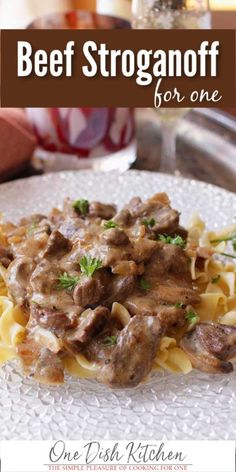 Easy recipe for Beef Stroganoff For One. Tender beef in a rich, creamy, flavorful sauce served over buttered noodles. Easy recipe for Beef Stroganoff For One. Tender beef in a rich, creamy, flavorful sauce served over buttered noodles. Kitchen Dishes, Kitchen Recipes, Food Dishes, Cooking For One, Batch Cooking, Cooking Rhubarb, Cooking Torch, Skillet Cooking, Cooking Steak