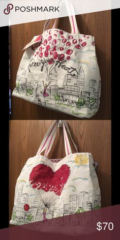 """Brighton B Mine Tote Bag Brand new with tags, designer canvas tote bag, uniquely hand-printed. Inside zippered pouch and intricately painted bottom. Dimensions: 14 1/2"""" H x 15 1/2"""" W x 8"""" D Brighton Bags Totes"""