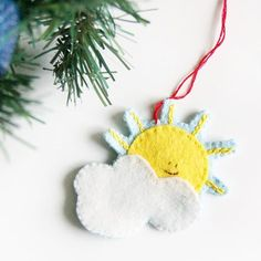 I just posted a tutorial to make this cute little sun and cloud ornament! Super quick to stitch up. Sun And Clouds, Felt, Stitch, Christmas Ornaments, Holiday Decor, Projects, How To Make, Home Decor, Log Projects