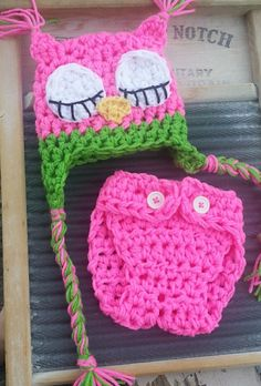 Newborn Owl baby Hat Diaper Set Crochet outfit Photo Studio Prop Hats pink green sleepy sleeping awake hoot boy girl on Etsy, $22.00