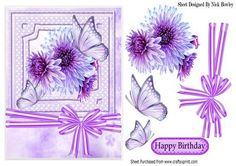 Pretty lilac Chrysthanthemums with butterflies and bow on Craftsuprint - Add To Basket!