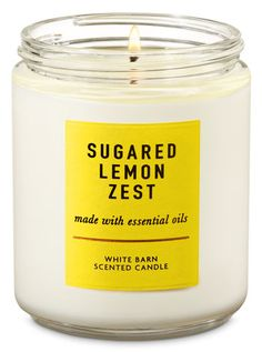 Sugared Lemon Zest Single Wick Candle - Bath And Body Works Bath Candles, Scented Candles, Kitchen Candles, Lemon Kitchen Decor, Kitchen Ideas, Yellow Candles, Candle Maker, Luxury Candles, Yurts