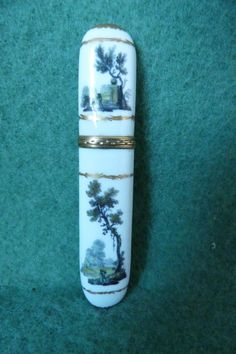 A Fine Antique Hand Painted German Porcelain Needle Case Possibly Meissen