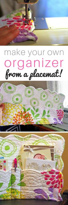 Make your own organizer from a placemat! Organize pens, scrapbook materials, school supplies, a planner, a Bible and the latest book you're reading. The options are endless! Easily customize it for what you need!
