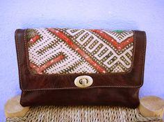 Tribal Clutch, Leather Clutch, Boho Clutch, Moroccan Kilim Clutch, Gypsy Clutch, Kilim Clutch Bag, Boho Bag, Ethnic Clutch Bag, Gift for her