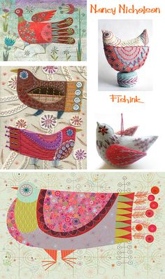 For a while now I've admired the work of Nancy Nicholson. She has established a reputation for her work in textiles, whilst more recently has been designing in paper and card. Wool Embroidery, Wool Applique, Embroidery Stitches, Embroidery Patterns, Machine Embroidery, Fabric Birds, Fabric Art, Fabric Crafts, Bird Quilt