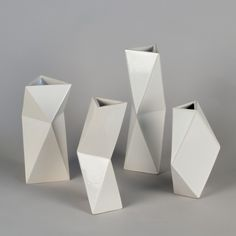 Hand built stoneware vases from the cut& fold collection. OJEA STUDIO. Engineering Clay