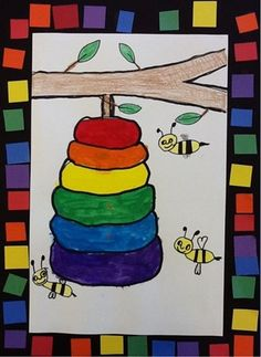 Artsonia Art Museum :: color wheel beehive I already do this! Like the boarder! Color Wheel Lesson, Color Wheel Projects, Color Wheel Art, Kindergarten Colors, Kindergarten Art Lessons, Art Lessons Elementary, Color Art Lessons, First Grade Art, Art Drawings For Kids