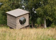 Six-sided modular cabin by Jaanus Orgusaar with wooden walls and fisheye windows Eco Architecture, Architecture Details, Modular Cabins, Contemporary Barn, Compact House, Shops, Wooden Cabins, Garden Office, Holiday Apartments
