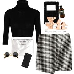 L.A.F Outfit Ideas with Cropped Wool Turtleneck Sweater, Slim Pencil Skirt, Sole Flat Sandals, C ...