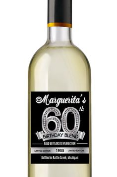 60th Birthday Wine Labels  Personalized by AnnounceItFavors