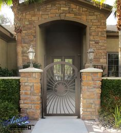 Sunburst - Wrought Iron Entry Gate with plasma cut sun - Model: CE0415