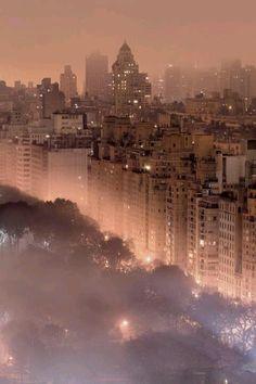 Foggy New York City skyline