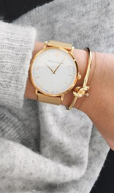 Gold watch and cute bracelet.