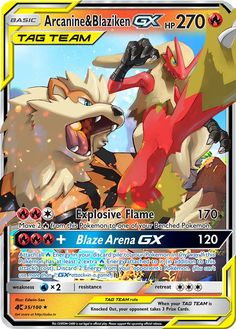 Arcanine & Blaziken GX Tag Team Custom Pokemon Card Pokemon Card Memes, Fake Pokemon Cards, Dragon Type Pokemon, Pokemon Cards Legendary, Pokemon Tcg Cards, Fire Pokemon, Pokemon Movies, Pokemon Alola, Pokemon Trading Card