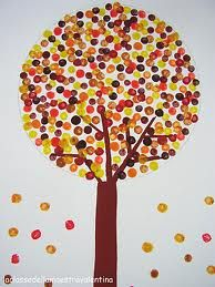 Fall tree with pencil eraser point dots