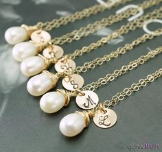Bridesmaid gift set of SEVEN  7 Pearl necklaces with by GlowWish