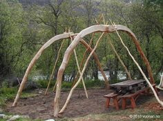These are the building stages of a Sami (indigenous skandinavians) Goahti (turf home) built for the International Indigenous Festival, Riddu. The frame is made from roundwood pegged together, no nails are used. See more details at www.naturalhomes.org/turfhouse.htm