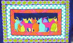 Rainbow cats floorcloth by SWBSTUDIO on Etsy, $225.00