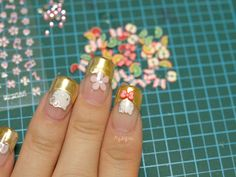 DIY set nail art stickers polymer clay slices and pink by Aya1gou, $5.00