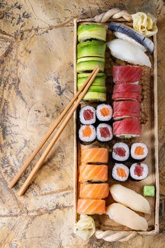 Sushi set nigiri and rolls by Natasha Breen on @creativemarket