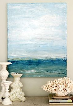 DIY Palette Knife Beach Art! Featured on BBL: http://beachblissliving.com/vacation-memories-photo-display-shell-decor-ideas/