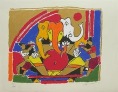 Limited Edition Silkscreen Print of Ganesh by M F Husain, size 22 x 28 inches, published in 2004 by Archer Art Gallery. Mf Hussain Paintings, The Mahabharata, Indian Paintings, Silk Screen Printing, Ganesh, Indian Art, Art Education, Mythology, Comic Art
