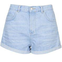 TOPSHOP PETITE Rosa Denim Shorts ($50) ❤ liked on Polyvore featuring shorts, topshop, bottoms, short, bright blue, petite, petite denim shorts, topshop shorts, cotton shorts and short shorts