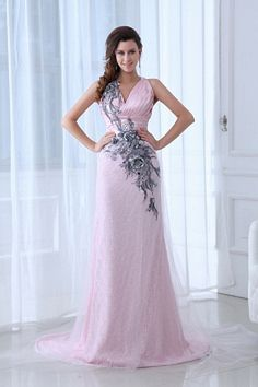 Beautiful Pink Column V-neck Tulle and Taffeta Prom Dress with Appliques Cheap Formal Dresses, Elegant Prom Dresses, Cheap Evening Dresses, Beautiful Prom Dresses, Cheap Wedding Dress, Wedding Dresses, Tulle Dress, Satin Tulle, Pink Tulle