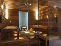 Glass wall in a sauna is on my wish list! from Helo – Finland Portable Steam Sauna, Sauna Steam Room, Sauna Room, Saunas, Sauna Lights, Sauna A Vapor, Sauna Design, Finnish Sauna, Spa Rooms