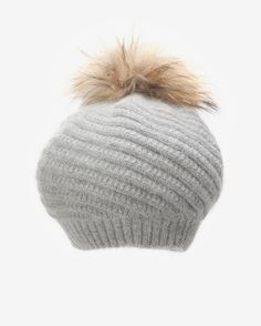ANNABELLE New York Fur Pom Pom Knit Hat: Grey | Hukkster