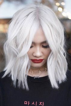 New Short White Hair Ideas Short haircut means you can use different hair colors easily! Somehow short hair care and dyeing is much easier. Short White Hair, White Blonde Hair, Short Hair Cuts, Short Hair Styles, Ice Blonde, Super Blonde Hair, Lilac Hair, Blonde Bobs, Pastel Hair