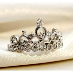 Perfect for a father to give his little princess. 925 Sterling Silver Crown With Crystal Women's Ring