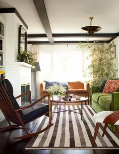 When green becomes a neutral // family rooms