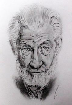 Ian Mckellen por monsdisaster - Retratos | Dibujando.net Portrait Sketches, Pencil Portrait, Portrait Art, Drawing Sketches, Portraits, Beautiful Pencil Drawings, Dark Art Drawings, Sketchbook Inspiration, Art Sketchbook