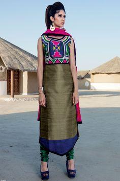 Olive green, blue & pink graceful raw silk salwar with chudi pants-SL6859