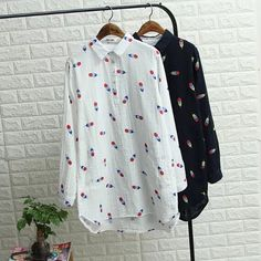 Colored feathers printing Turn-down collar loose long-sleeved Cotton yarn shirt blouse autumn