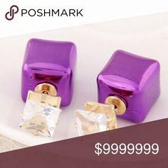 ❣ Purple & Gold Tone Cubic Block Earring Studs Jewelry Earrings