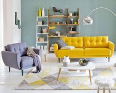 canapé, couleurs, décoration, salon, salon coloré