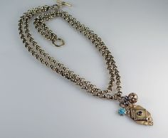 Vintage Victorian Revival Gold Tone Two Strand Turquoise Charm Toggle Necklace  #StrandString #Victorian #Toggle #Charm